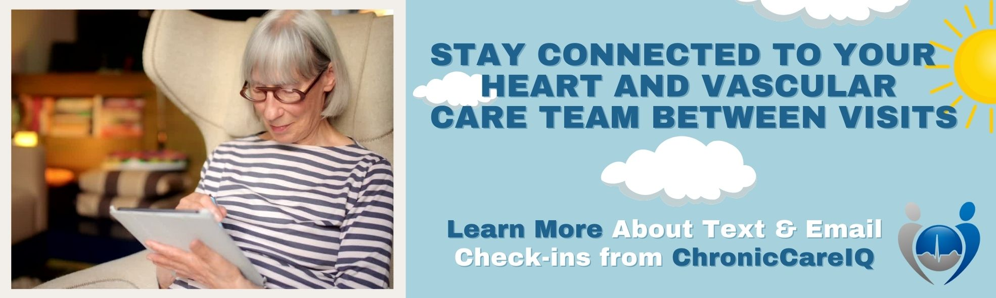 Banner: Woman using tablet - Click to learn more about our new Chronic Care Management service